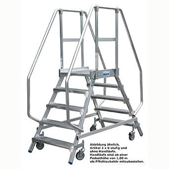 LFG266 Escalera de Plataforma Bilateral, 2 x 6 Peldaños, 600 mm x 700 mm Plataforma, 1.45 m Altura: Amazon.es: Industria, empresas y ciencia