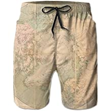 Hoodieu World Map With Liner Mens Boardshorts Swim Trunks Men Tropical Gym Soccer Board Shorts Solid Swim Trunks