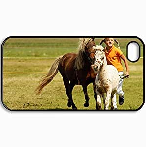 Personalized Protective Hardshell Back Hardcover For iPhone 4/4S, Horses W Girl Design In Black Case Color