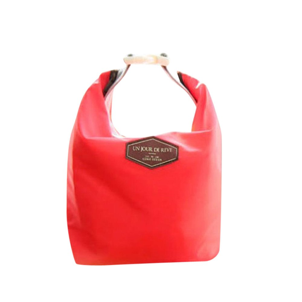 KFSO Lunch Bag Clearance Sale! Waterproof Thermal Cooler Insulated Tin Foil Lunch Box Portable Tote Storage Picnic Bags (Red)