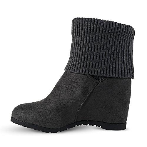 Damen Stiefeletten Keilabsatz Stiefel Boots Wedge Strick ST938 Grau