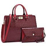 Women's Fashion Handbags Tote Purses Shoulder Bags Top Handle Satchel Purse Set 2pcs 02 Croco- Wine