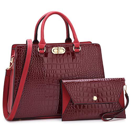 Dasein Women Fashion Handbags Tote Purses Shoulder Bags Top Handle Satchel Purse Set 2pcs Croco Wine
