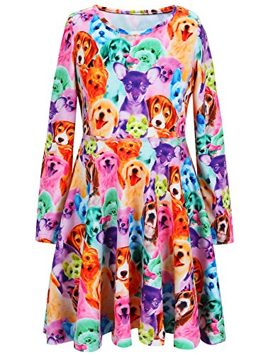 Jxstar Girls Dress Animal Rainbow Dog Print Dress Long Sleeve tshirt Dress Rainbow Dog 160 Rainbow Dog Fall 12-13Years Height 62in