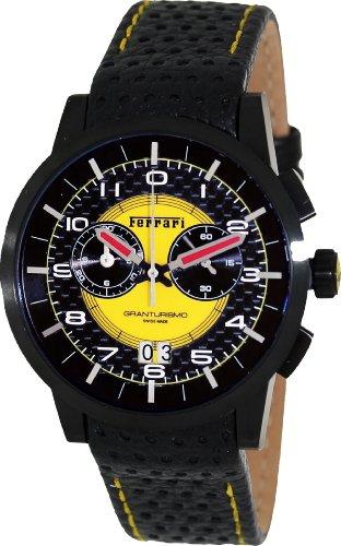 Ferrari Granturismo Swiss Made Men's Black PVD Chronograph Watch FE-11-IPB-CP-YW (Chronograph Pvd Swiss)