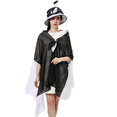 7343a609 June's Young Women Hat Formal Dress Hat Chiffon Fabric Feather Two Tone  Colors (Black White