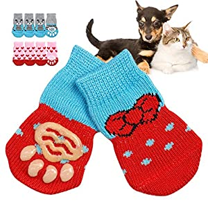 Sage Square Anti Skid Soft Knitting with Rubber Grippers Paw Protectors Socks for Dog/Puppy/Cat/Kitten (XS) – 4 Pieces