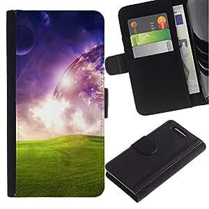 KingStore / Leather Etui en cuir / Sony Xperia Z3 Compact / Universo del extranjero de espacio de Arte Planetario hierba verde