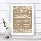 Burlap & Lace Effect I Spy Disposable Camera Photos Personalized Wedding Sign