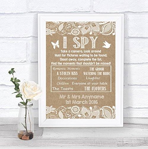 Burlap & Lace Effect I Spy Disposable Camera Photos Personalized Wedding Sign Hearts Disposable Wedding Cameras