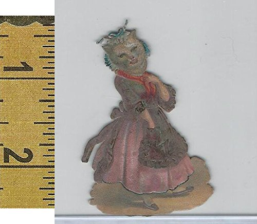 Victorian Card, 1890's, Animals Diecut, Cat Wearing Dress (A14)