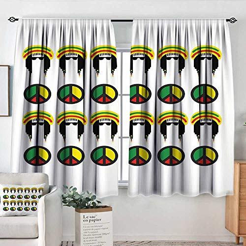 Elliot Dorothy Window Curtains Jamaican,Collection of Reggae Icons Colorful Peace Symbols Abstract Americas Composition,Multicolor,Fashionable Illustration Customized Curtain 52