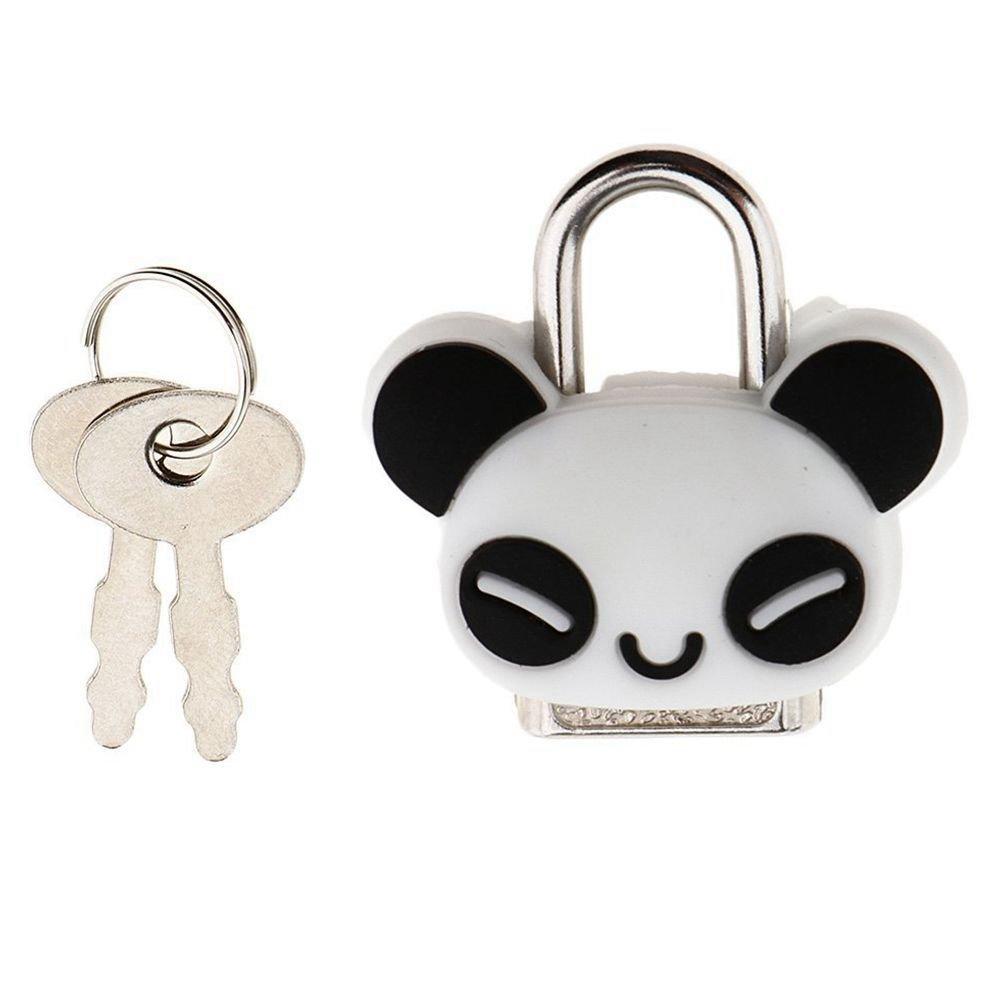 Nrpfell Security Lock Mini Padlock Animal Cute Doll Cartoon Lock with Key - Panda