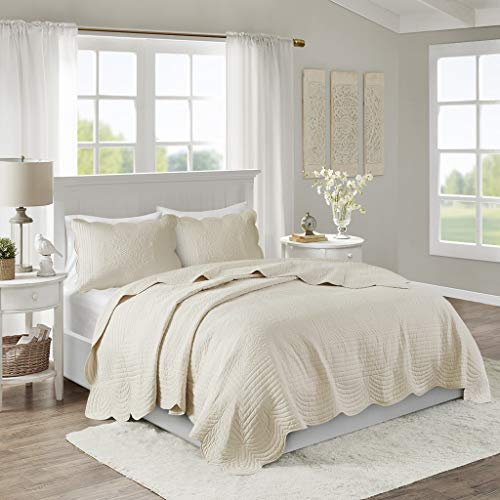 Madison Park Tuscany 3 Piece Coverlet Set, Full/Queen, Cream