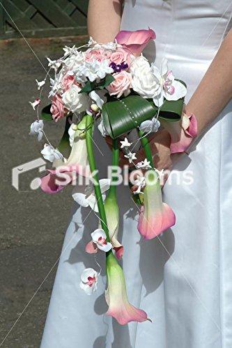 Bouquet Da Sposa Orchidee.Silk Blooms Ltd Rosa Gigli Viola Orchidea Strada Cascata