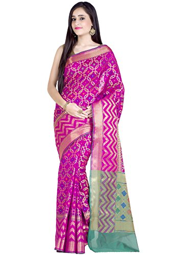 Saree Magenta - Chandrakala Women's Magenta Cotton Silk Blend Banarasi Saree,Free Size(1242MAG)