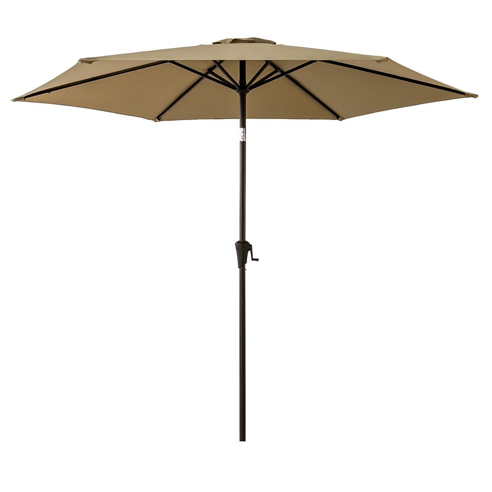 FLAME SHADE 9 Outdoor Market Umbrella with Tilting for Patio Table Backyard Deck Garden Terrace or Pool Shade, Beige