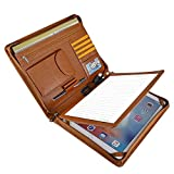 Professional Leather Business Organizer Portfolio Case with Zipper Closure for iPad Pro 12.9 inch (A4) Paper Pocket (iPad Pro 12.9 inch)