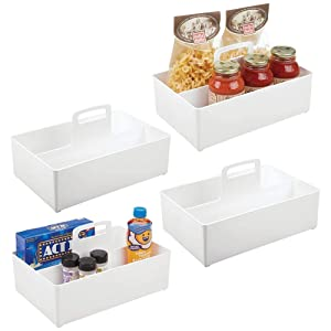 mDesign Kitchen Pantry Cabinet or Refrigerator Storage Organizer Tote Bin with Handle - Organizer for Individual Packets, Snacks, Produce, Pasta - Large, 4 Pack - White