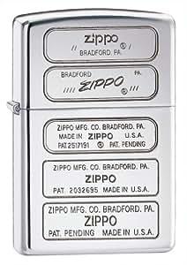 Zippo Bottom Stamp Pocket Lighter, High Polish Chrome