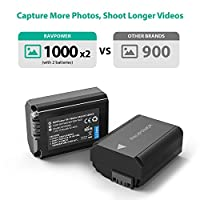 NP FW50 RAVPower Camera Battery Charger Set for Sony A7, A600, A6500, A6300, A55, A5100 ( 2-Pack, Micro USB Input Charger, Versatile Charging Option, 1100mAh, 100% Compatible with Original ) by RAVPower