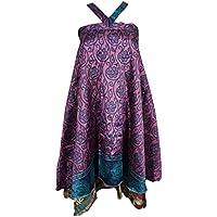 Mogul Womens Magic Wrap Skirt Vintage Silk Sari Two Layer Reversible Cruise Dress