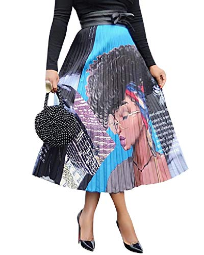 - ThusFar Women's Graffiti Pleated Skirts Cartoon Printed Elastic Waist A-Line Swing Midi Skirt Lady XL