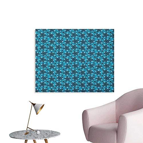 Anzhutwelve Flower Wallpaper Abstract Summer Composition with Blue Tones Cartoon Botanical Arrangement Art Poster Petrol Blue and Aqua W32 xL24