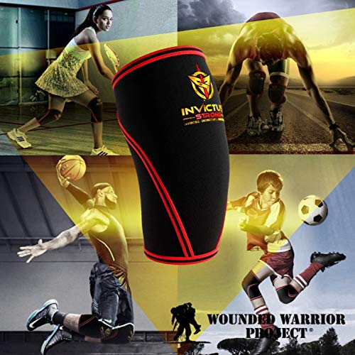 558217a205 Knee Compression Sleeve Support Brace for Men & Women Crossfit-Invictus  Strong 7MM Neoprene Knee