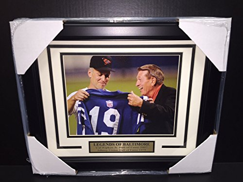CAL RIPKEN JR JOHNNY UNITAS JERSEY BALTIMORE ORIOLES COLTS 8x10 PHOTO FRAMED - Cal Ripken Memorabilia