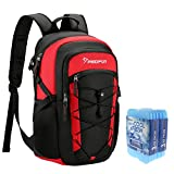 Piscifun Insulated Cooler Backpack with 6 Cool Coolers, Leakproof Lightweight Cooler Bag, Soft Backpack Cooler for Men and Women Bag Cooler for Lunch, Picnic, Fishing, Hiking Black & Red