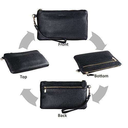 Befen Women Genuine Leather Clutch Wallet, Smartphone Wristlet Purse - Black by befen (Image #4)