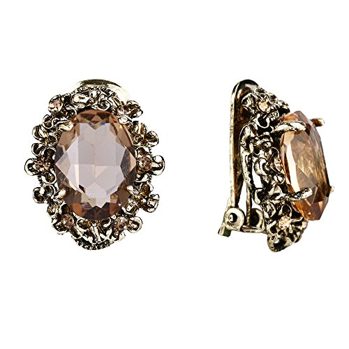 BriLove Victorian Style Clip On Earrings for Women Crystal Floral Cameo Inspired Oval Earrings Champagne Antique-Gold-Toned