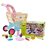HM-TECH Kid's Wooden Shopping Cart with 25pcs Cutting Fruit Set - Baby Walker with Wheel,2-in-1 Wooden Activity Walker Wooden Push Toy