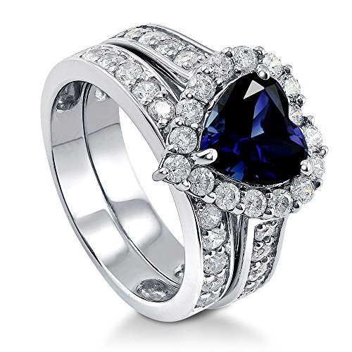 - BERRICLE Rhodium Plated Sterling Silver Simulated Blue Sapphire Heart Shaped Cubic Zirconia CZ Statement Halo Engagement Wedding Ring Set 2.82 CTW Size 6