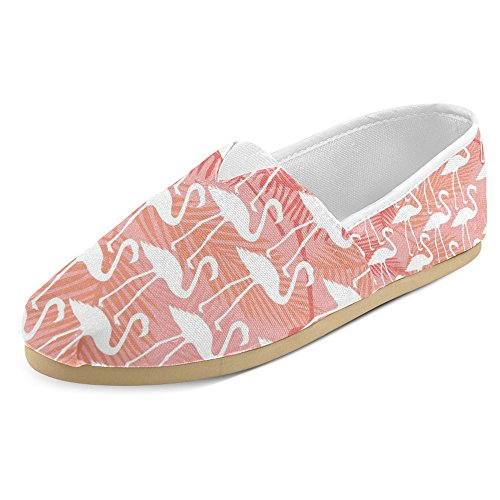 InterestPrint Women's Loafers Classic Casual Canvas Slip On Fashion Shoes Sneakers Flats Size 8 Elegant Flamingos in Vintage Style Illustration Love Romantic Animals Art Print by InterestPrint