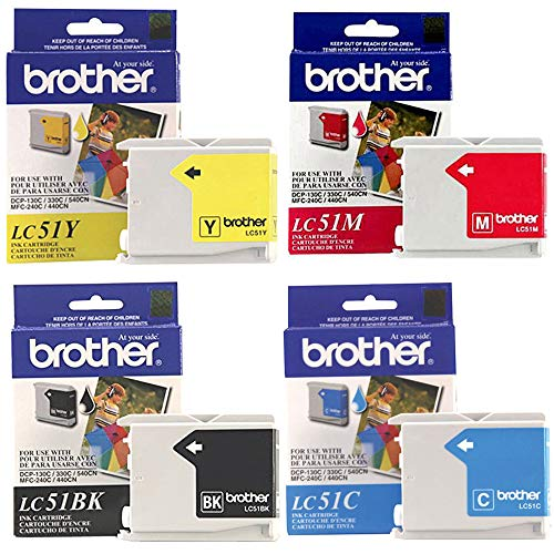 Brother LC51 Ink Cartridge Set Black, Cyan, Magenta, Yellow for DCP-130C in retail - Black Lc51 Ink