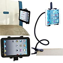 "O-Best iPad Holder 360 Rotating Bed Tablet Mount Holder Stand For iPad 2 3 4 5 6/mini 1/2 air and all 7-12"" Tablet with Long Gooseneck-Black"