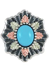 Black Hills Gold Turquoise Oxidized Silver Brooch 3432F-OX-GS