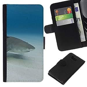 - SEA SAND SHARK OCEAN BLUE UNDERWATER - - Prima caja de la PU billetera de cuero con ranuras para tarjetas, efectivo desmontable correa para l Funny House FOR Samsung ALPHA G850