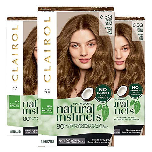 Clairol Natural Instincts, 6.5G Lightest Golden Brown, Amber Shimmer, 3 Count