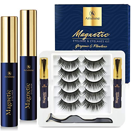 Arishine Magnetic Eyelashes with Eyeliner Luxury Multi-layered Effect Natural Look Faux Mink Lashes for Girls | 5 Pair