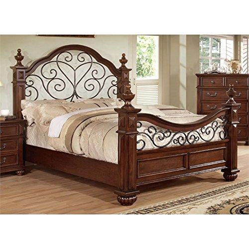 Furniture of America Emmental Poster Bed with Scrolling Metal Design, Eastern King, Antique Dark Oak