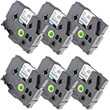 Fimax 6 pack Compatible Brother TZe-241 TZe241 P-touch Label Tape 18mm 3/4 Inches Black on White Standard Laminated Tape TZ-241