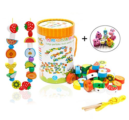 Naovio 70 Pcs Wooden Animal Lacing & Bead Stringing Block Toy Educational Developmental Game for Preschool Boys Girls Toddlers with Free Gift (multicolor) by Naovio