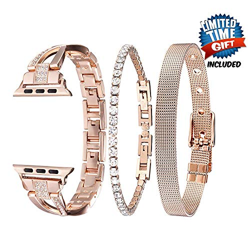 Inno-Huntz Stainless Steel Compatible with Apple Watch Band Bling for Women Gold Set of 3 38mm 42mm 40mm 44mm Cute Crystal Elegant Strap for IWatch Series 4 3 2 1 Cool Bracelet for Party Gift
