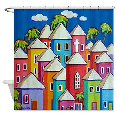 Colorful Houses Tropical Caribbean Shower Curtain Amazoncouk Kitchen Home