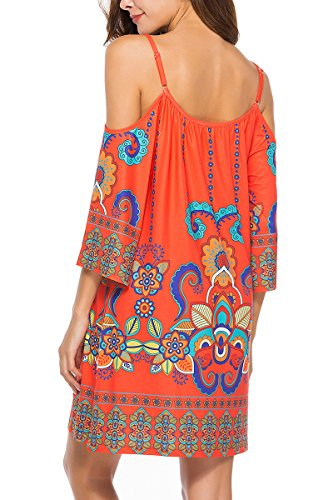 Shoulder Womens Printed Dress Strap 10 Anatoky Spaghetti Summer Pattern Shift Tribal Cold Oqwg1dx1AE