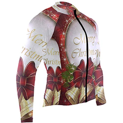 Christmas Snowflake Golden Bell Spark Mens Cycling Jersey Jacket Full Sleeve Road Cycle Skinsuits with Pocket