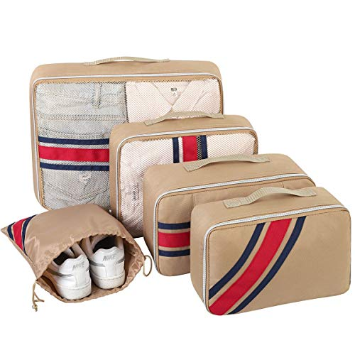 Packing Cubes, Packing Organizers, YAMTION 5-Piece Oxford Lightweight Travel Luggage Organizers Packing Cubes Space Saver (khaki)